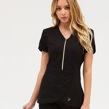 The Tulip Top in Black - Medical Scrubs by Jaanuu