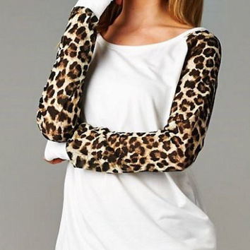 Long Sleeve Tunic Top with Leopard Sleeves - White