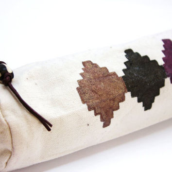 hand painted canvas pouch pencil case tribal bag navajo south western purple black copper zipper pouch