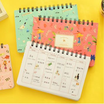 2017 flower notebook Coil spiral planner Weekly agenda calendar style diary book stationery Material escolar Office supply 01670