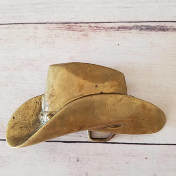 Brass Belt Buckle/ Cowboy Belt Buckle/ Cowboy/ Cowgirl/ Large Belt Buckle/ Cowboy Hat Buckle/ Vintage Brass Belt Buckle/ Accessories/ Gift
