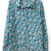 ROMWE Umbrella Print Long-sleeves Green Shirt