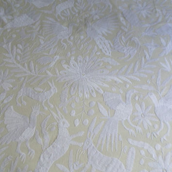 READY TO SHIP White Otomi Quilt otomi embroidery Mexican suzani Otomi Wall decor tablecloth White hand embroidered otomi fabric Mexico