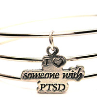 I Heart Someone With Ptsd Triple Style Expandable Bangle Bracelet