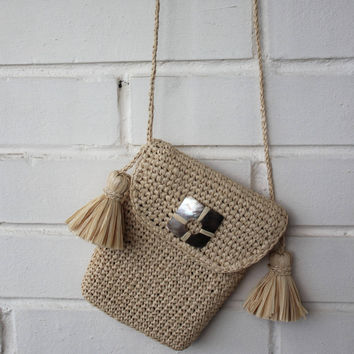 Small raffia crossbody bag, Straw bag, Slingbag, Phone pouch, Tassel bag, Small bags, Phone bag, Borse raffia, Mother of pearl