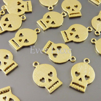 4 Tiny skeleton skull charms with heart eyes / satin gold finish / jewelry making supply / craft supplies 1655-SG (satin gold, 4 pieces)