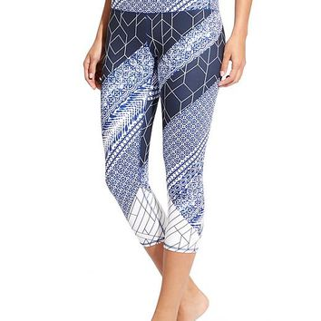 High Rise Indigo Geo Chaturanga™ Capri