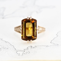 Antique Citrine Ring, Victorian 10k Rose Gold Madeira Cognac Citrine Topaz, Rustic Bohemian Jewelry Alternative Engagement Statement Ring