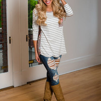 Makes Me Smile Floral Striped Top Mocha