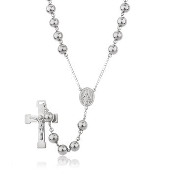 Silvertone Stainless Steel Jesus Cross with Mother Mary Charm and 10mm 36 Inch Rosary Chain