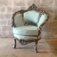 Antique Blue Chair Italian Venetian *1 Available* Bergere Corbeille Silver Gray Frame New Fabric Padding Baby Blue Sky Rococo Baroque