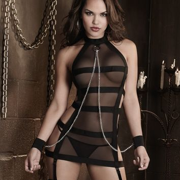 Fetish Halter Garter Slip with Chain Wrist Restraint