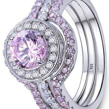 3 Pcs Cz Created Pink Sapphire 925 Sterling Silver Wedding Engagement Ring Set