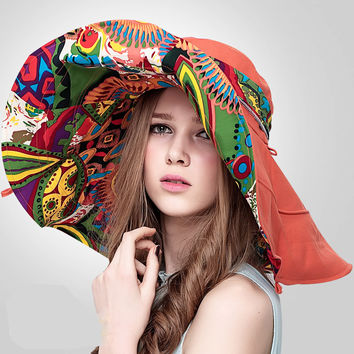 Bohemian Style! Hats Sun Hats For Women  Summer Hat Large Sun Beach Hat chapeu femme  Flower printed wide brim