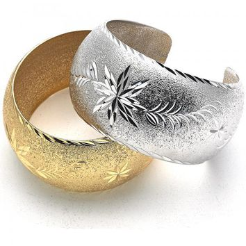 Gold Layered Individual Bangle, Flower and Leaf Design, Golden Tone