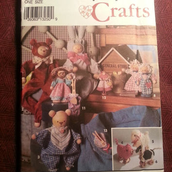 Uncut 1992 Simplicity Sewing Pattern, 8098! Home Decor Crafts/Stuffed & Wooden Dolls/Sheep/Rabbits/Angel Ornaments/Bears/Pigs/Cows/Country