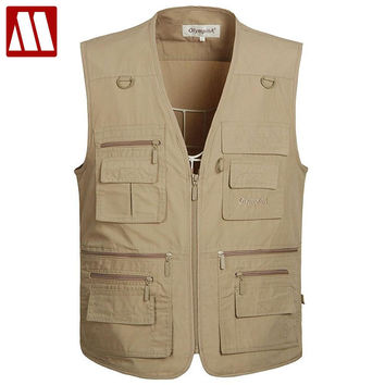New Summer Zipper Travels Vests Breathable Mesh Vest Photographer Sleeveless Thin Jacket with Many Pocket