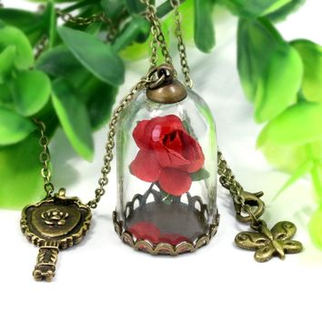 NingXiang Beauty and the Beast Natural Red Rose Flower Necklace Glass Bottle Retro Pendant Little Prince Rose Necklace For Girls