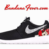 "Nike ""Bling"" Roshe Run Women's Black/Metallic Platinum Swoosh by Bandana Fever"