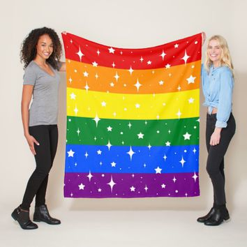 Sparkly Rainbow Flag Fleece Blanket