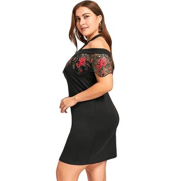 Off the shoulder floral lace capelet mini dress ~ Plus size