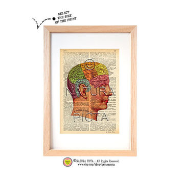 Phrenology head chart dictionary print-Anatomy art print-Anatomical on book page-Human brain print-Upcycled dictionary art-by NATURA PICTA