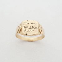 "Victorian Style Custom Gold Signet ""Even This Shall Pass Away"" - The King's Ring - Memento Mori, All Things Must Pass"