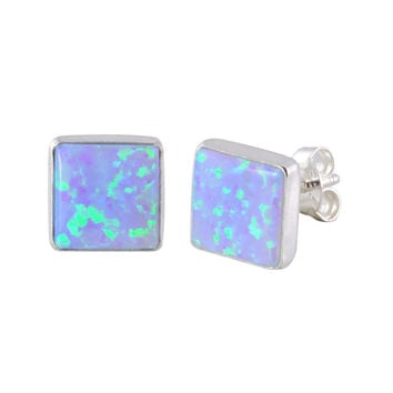 Opal Gemstone Stud Earrings Periwinkle Green Sterling Silver 9mm Square