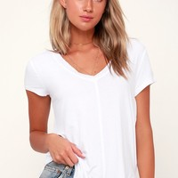 Mya White V-Neck Tee
