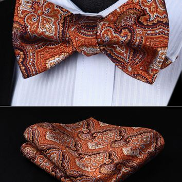 Orange Brown Floral Bowtie Men Silk  Self Bow Tie handkerchief set  BF902NS