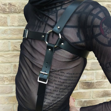MILITANT / / Genuine Black Leather Cross Strap Brace Chest Harness (military, fetish, goth, nugoth)