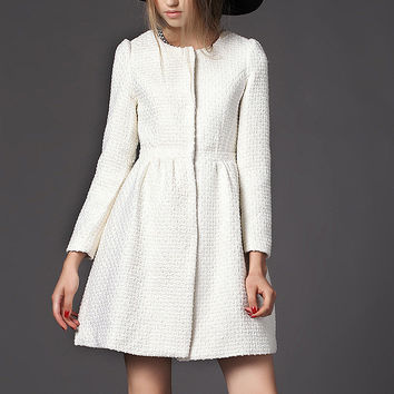White Wind Woolen Coat Jacket