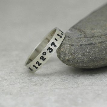 Custom Hand Stamped Sterling Silver Latitude and Longitude Ring - Narrow Width