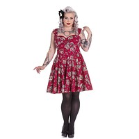Hell Bunny Calavera Day of the Dead Flower Sugar Skull Red Party Dress