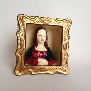 Vintage Mona Lisa Salt and Pepper Shaker / Retro Ceramic Salt and Pepper Shaker / Vandor Mona Lisa
