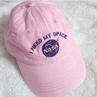 NASA Women Men Embroidery Denim Baseball Cap Hat Sunhat