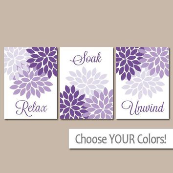 Purple Bathroom Wall Art, Purple BATHROOM Decor, CANVAS or Prints, Relax Soak Unwind, Purple Flower Bathroom Quotes, Set of 3 Artwork