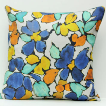 Linen floral pillow cover, 20x20 blue/light blue pillow, orange/rust, geometric luxury pillow, Highland Court pillow