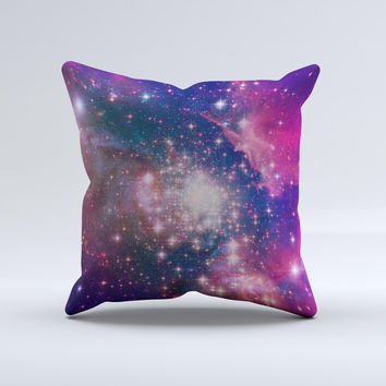 The Vibrant Sparkly Pink Space ink-Fuzed Decorative Throw Pillow