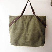 weekender bag ,canvas tote bag leather straps,shopping tote bag, overnight bag ,school bag, gym bag in olive green, military green