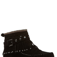 Tribal Touch Black Fringe Moccasin Boots