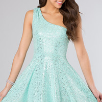 One Shoulder Short Glitter Dress