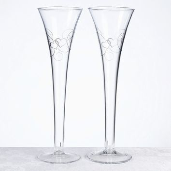 Silver Heart Scroll Toasting Flutes - Perfect Wedding Gift