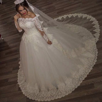 Beaded Lace Boho Wedding Gowns Long Sleeves Muslim Wedding Dress Turkey