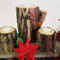 Rustic Candle Holders, Set of 3, Wooden Candle Holders, Candle Centerpiece, Candle Holders
