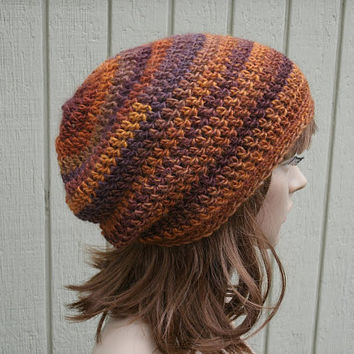 Slouchy Hat - The Eden in Sundown - Womens Hat - Hand Crocheted Slouch Beanie - gamers hat
