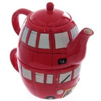 Routemaster Bus Ceramic Teapot and Cup Set for 1
