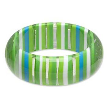 Chunky Lucite Bangle Bracelet 70s Mod Retro Green Blue White Stripes