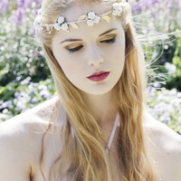 Grecian Flower Crown, Greek Goddess, Greek Wedding, Olympic Rose and Gold Leaf Flower Headband, Festival Crown, Bridal Flower Crown
