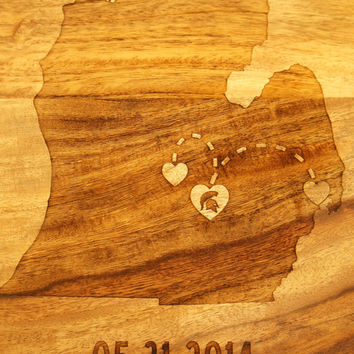 MEDIUM(10x15)- Custom Etched ONE State Love Cutting Board Engraved heart in states, names & date custom engagement anniversary, wedding gift